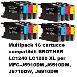 Multipack 16 cartucce compatibili BROTHER LC1240 LC1280 XL per MFC-J5910DW,J6510DW, J6710DW, J6910DW