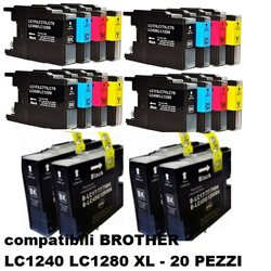Multipack 20 cartucce compatibili BROTHER LC1240 LC1280 XL per MFC-J5910DW,J6510DW, J6710DW, J6910DW