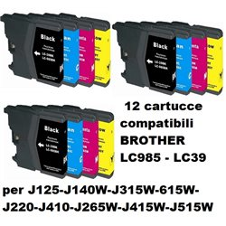 Multipack 12 cartucce compatibili BROTHER LC985 - LC39 per J125-J140W-J315W-615W-J220-J410-J265W-J415W-J515W