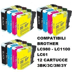 Multipack 12 cartucce compatibili BROTHER LC980 LC1100 LC61