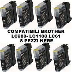 Multipack 8 cartucce NERE compatibili BROTHER LC980 LC1100 LC61