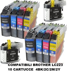 multipack 10 cartucce compatibili BROTHER LC-223 BK/C/M/Y per MFC J4620DW