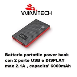 Batteria portatile power bank con 2 porte USB e DISPLAY max 2.1A , capacita' 6000mAh NERO