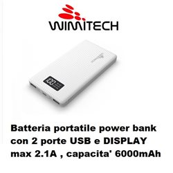 Batteria portatile power bank con 2 porte USB e DISPLAY max 2.1A , capacita' 6000mAh BIANCO