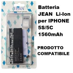 Batteria JEAN Li-Ion compatibile per IPHONE 5S/5C 1560mAh