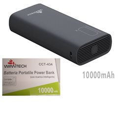 Batteria portatile power bank con 2 porte USB , max 2.1A ,10000mAh NERO