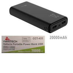 Batteria portatile power bank con 2 porte USB 20000 mAh NERO