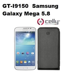 CELLY custodia GT-I9150  Samsung Galaxy Mega 5.8 in ecopelle nera scocca in plastica rigida