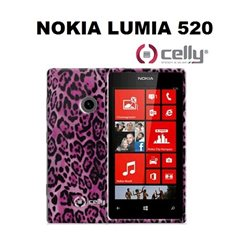 CELLY cover Nokia Lumia 520  in TPU  rosa con texture animalier