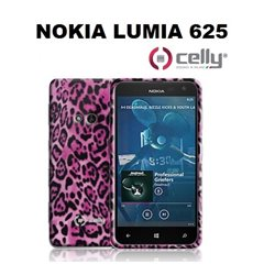 CELLY cover Nokia Lumia 625 in TPU anti-shock rosa con texture animalier