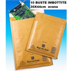 10 BUSTE IMBOTTITE BIANCHE A BOLLE ARIA MAIL LITE 30X44cm AVANA